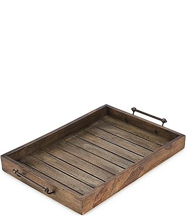 Image of Southern Living Festive Fall Weathered Dark Mango Wood Rectangular Tray with Handles