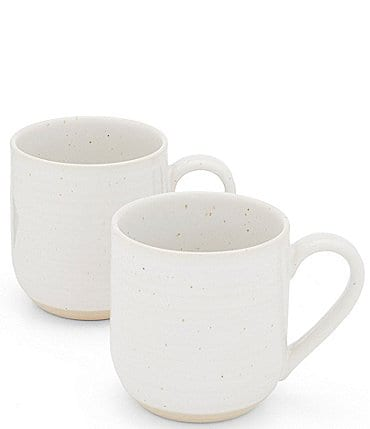 Image of Southern Living Simplicity Collection White and Natural Speckled Coffee Mugs, Set of 2