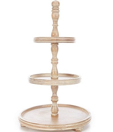 Image of Southern Living White Washed 3-Tier Flat Wood Server