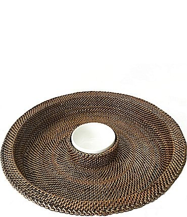 Image of Southern Living Festive Fall Woven Nito & Ceramic Chip & Dip Server