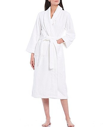 Image of Spa Essentials by Sleep Sense Velour Shadow Stripe Terry Long Wrap Robe