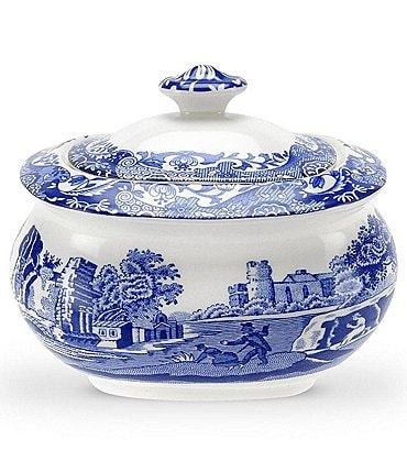 Image of Spode Blue Italian Covered Sugar Bowl