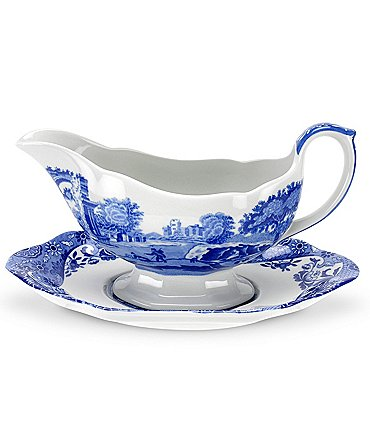 Image of Spode Blue Italian Sauce Boat with Stand