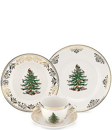 Image of Spode Christmas Tree Gold Collection 4-Piece Place Setting