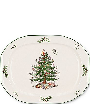Image of Spode Christmas Tree Sculpted Oval Platter