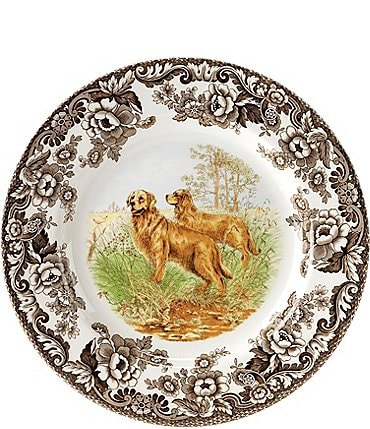 Image of Spode Festive Fall Colletion Woodland Hunting Dogs Golden Retriever Dinner Plate
