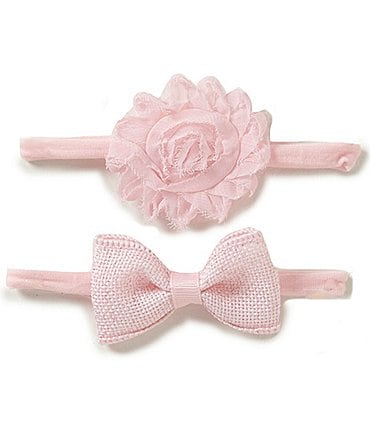 Image of Starting Out 2-Pack Sparkle Burlap Bow & Chiffon Flower Headbands