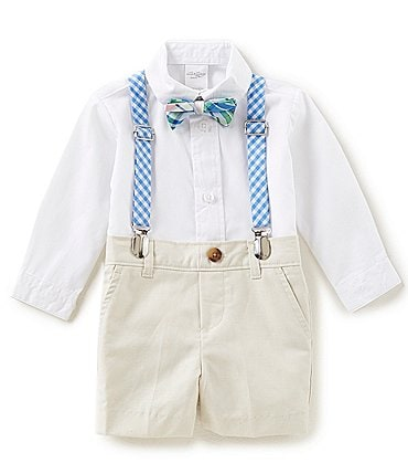 Image of Starting Out Baby Boys 3-24 Months Button-Down Shirt, Shorts, Bow-Tie & Suspenders, 4-Piece Set