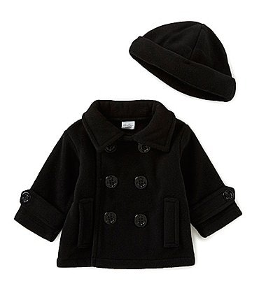 Image of Starting Out Baby Boys 3-24 Months Fleece Double Breasted Peacoat & Hat