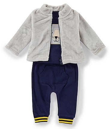 Image of Starting Out Baby Boys Newborn-24 Months 3-Piece Bear Top, Jacket, & Pants Set