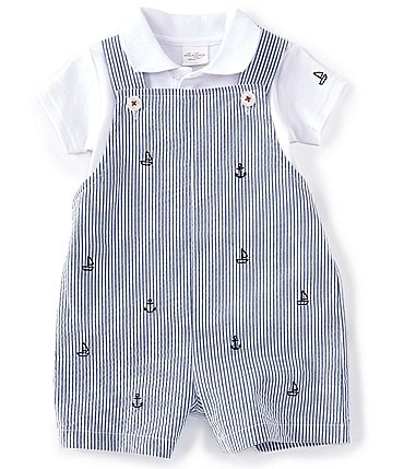 Image of Starting Out Baby Boys Newborn-24 Months Short-Sleeve Polo & Boat Seersucker Shortall Set