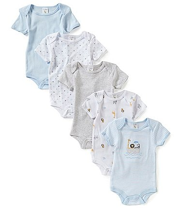 Image of Starting Out Baby Boys Newborn-6 Months 5-Pack Animal Ark Bodysuits