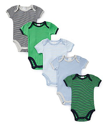Image of Starting Out Baby Boys Newborn-6 Months 5-Pack Stripes & Solids Bodysuits