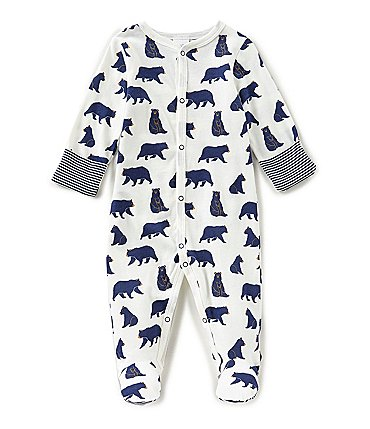 Image of Starting Out Baby Boys Newborn-6 Months Bear-Print Footed Coverall