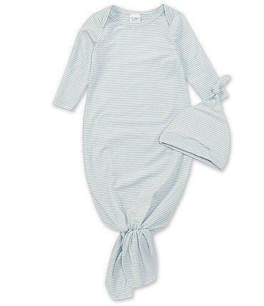 Image of Starting Out Baby Boys Newborn-6 Months Long-Sleeve Stripe Knotted Gown