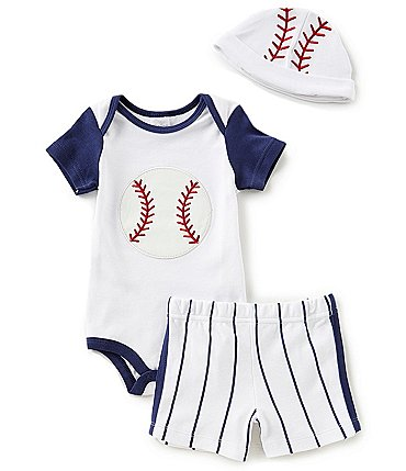 Image of Starting Out Baby Boys Newborn-9 Months Baseball Bodysuit, Striped Shorts, & Hat 3-Piece Layette Set