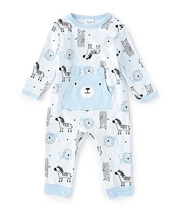 Image of Starting Out Baby Boys Preemie-6 Months Long-Sleeve Wildlife Coverall
