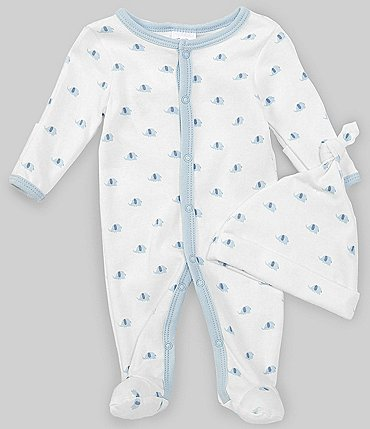 Image of Starting Out Baby Boys Preemie-9 Months Long-Sleeve Elephant Footed Coverall & Knotted Hat Set
