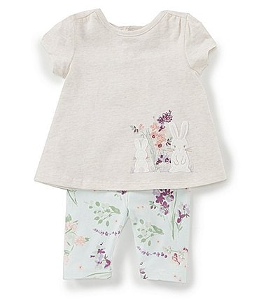 Image of Starting Out Baby Girls 3-24 Months Floral Bunny Top & Leggings Set
