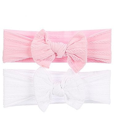 Image of Starting Out Baby Girls 2-Pack Cable-Knit Knotted Headwrap