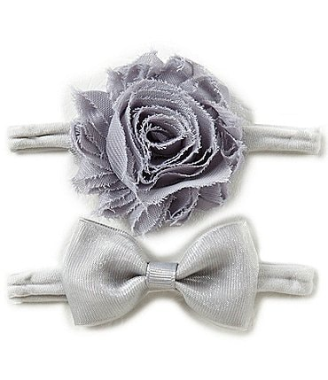 Image of Starting Out Baby Girls 2-Pack Frayed Flower/Bow Headband