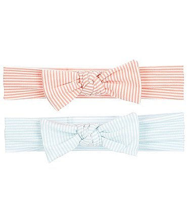 Image of Starting Out Baby Girls 2-Pack Stripe Knot Bows