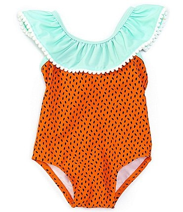 Image of Starting Out Baby Girls 3-24 Months Bow-Back Watermelon One-Piece Swimsuit