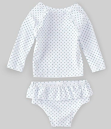 Image of Starting Out Baby Girls 3-24 Months Dotted Rashgard Two-Piece Swimsuit Set