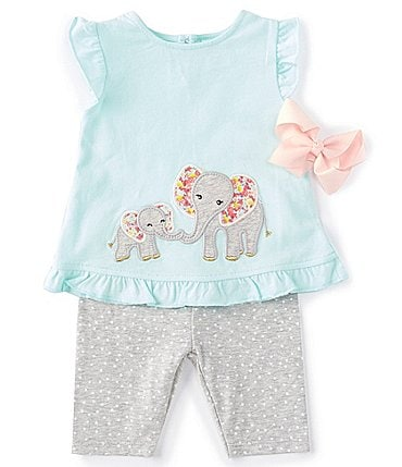 Image of Starting Out Baby Girls 3-24 Months Elephant Top & Dotted Legging Set
