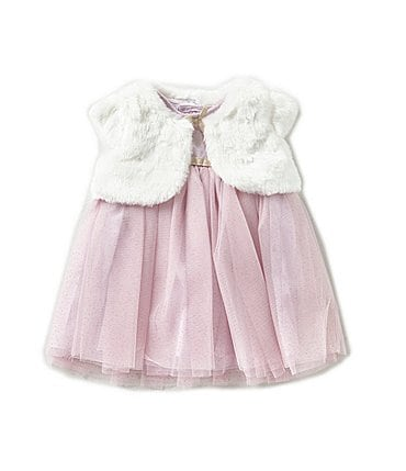 Image of Starting Out Baby Girls 3-24 Months Faux-Fur Bolero Coat & Dress Set