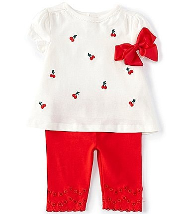 Image of Starting Out Baby Girls 3-24 Months Short-Sleeve Cherry Top & Eyelet Legging Set