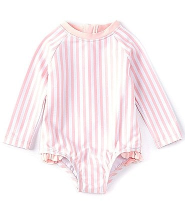 Image of Starting Out Baby Girls 3-24 Months Stripe Rashgard One-Piece Swimsuit