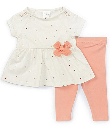 Image of Starting Out Baby Girls 3-24 Months Short-Sleeve Dotted Top & Legging Set