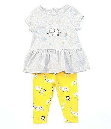 Image of Starting Out Baby Girls 3-24 Months Short-Sleeve Elephant Top & Legging Set