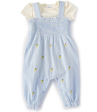 Image of Starting Out Baby Girls 3-9 Months Short-Sleeve Lemon Seersucker Romper