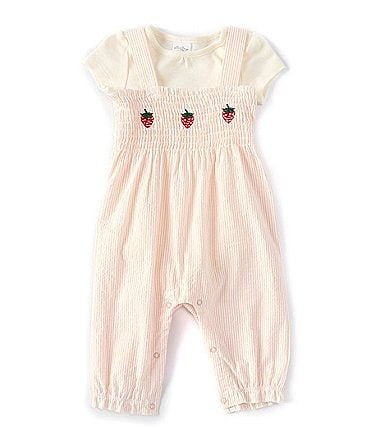 Image of Starting Out Baby Girls 3-9 Months Short-Sleeve Strawberry Seersucker Romper Set
