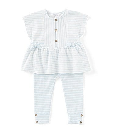 Image of Starting Out Baby Girls 3-24 Months Striped Peplum Top & Leggings Set
