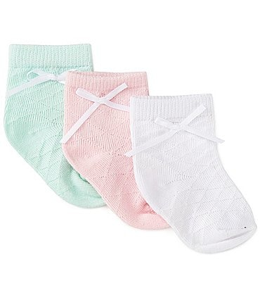 Image of Starting Out Baby Girls 3-Pack Diamond Point Dress Socks