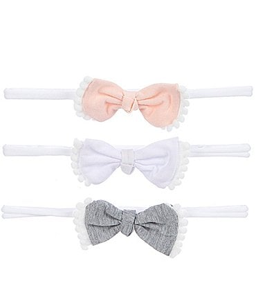 Image of Starting Out Baby Girls 3-Pack Pom-Pom Bow Headwraps