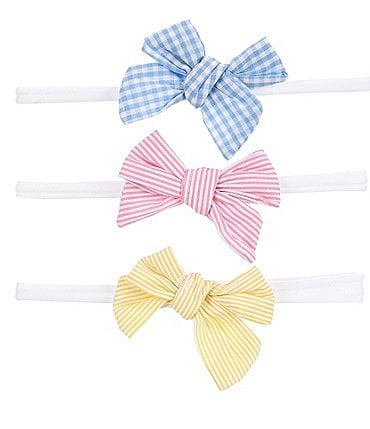Image of Starting Out Baby Girls 3-Pack Printed Woven Bows