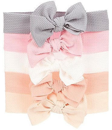 Image of Starting Out Baby Girls 5-Pack Textured Bow Headwrap