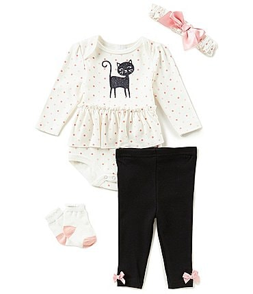 Image of Starting Out Baby Girls Cat 4-Piece Layette Set