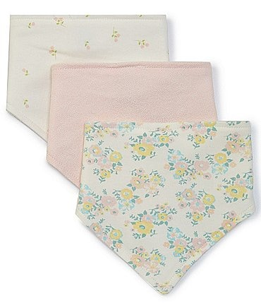 Image of Starting Out Baby Girls Floral 3-Pack Bandana Bibs