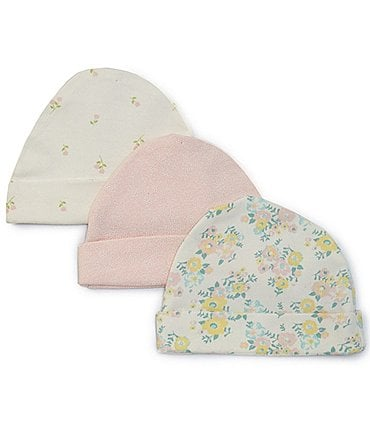 Image of Starting Out Baby Girls Floral 3-Pack Beanies