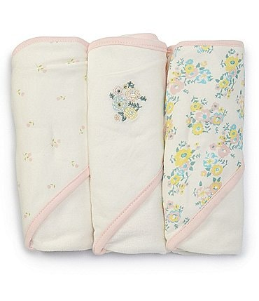 Image of Starting Out Baby Girls Floral 3-Pack Hooded Towels