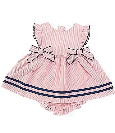 Image of Starting Out Baby Girls Newborn-24 Months Bow Stripe Fit-And-Flare Dress
