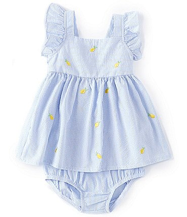 Image of Starting Out Baby Girls Newborn-24 Months Lemon Stripe Seersucker A-Line Dress
