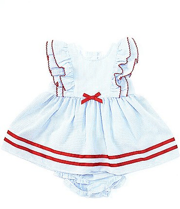 Image of Starting Out Baby Girls Newborn-24 Months Ruffle-Sleeve Stripe A-Line Dress