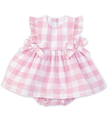 Image of Starting Out Baby Girls Newborn-24 Months Side-Bows Gingham Check A-Line Dress