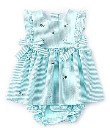 Image of Starting Out Baby Girls Newborn-24 Months Watermelon Seersucker A-Line Dress